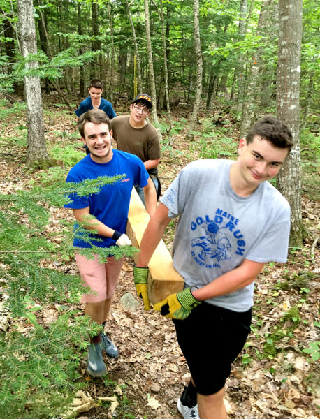 Lincoln Academy sophomores assist the Damariscotta River Association with trail maintenance on the Salt Bay Heritage Trail as part of the Sophomore Service Day on Wednesday, Aug. 31. (Photo courtesy Jesse Ferreira)
