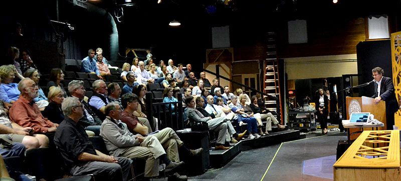 Lincoln Academy Head of School David Sturdevant speaks during the school's first town hall-style meeting in Parker B. Poe Theater on Wednesday, Sept. 21. (Maia Zewert photo)