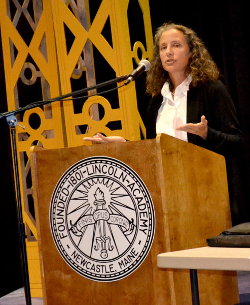 Lincoln Academy Director of Counseling and Studies Sarah Wills-Viega discusses the school's programs during the LA Town Hall on Wednesday, Sept. 21. (Maia Zewert photo)