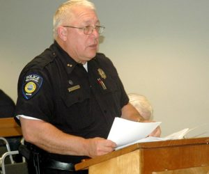 Waldoboro Police Chief Bill Labombarde addresses the Waldoboro Board of Selectmen. (Alexander Violo photo)