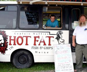 "Justin Barker (left) and Matthew ""Captain Mattie"" Thomson at Captain Mattie's Hot Fat Fish & Chips shortly after opening the food truck in July. The business abruptly closed Thursday, Sept. 8. (J.W. Oliver photo, LCN file)"