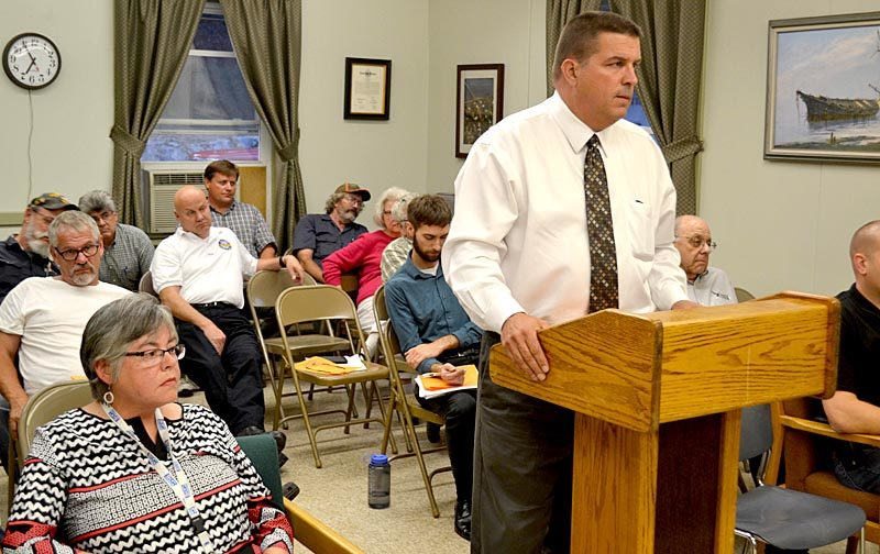 From left: Wiscasset Treasurer Shari Fredette and auditor Chris Bachman attend the Wiscasset Board of Selectmen's Sept. 6 meeting, where selectmen voted to use $1 million from the general fund to reduce the tax commitment. (Abigail Adams photo)