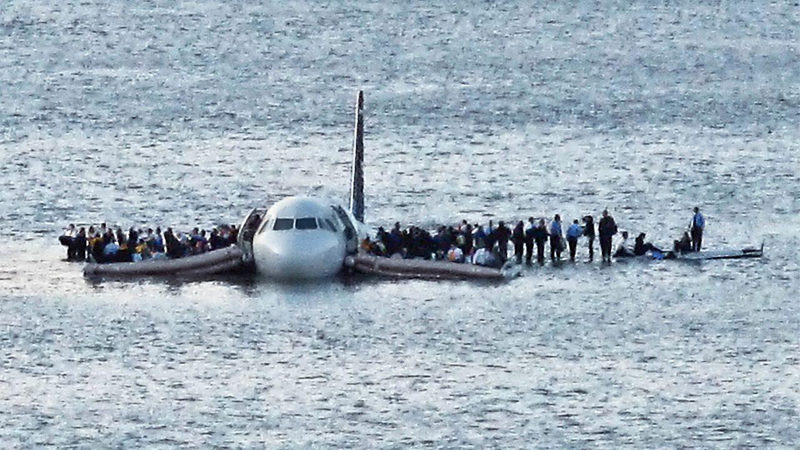 "One hundred fifty-five crew members and passengers wait to be rescued after US Airways flight 1549 made an emergency landing on the Hudson River in a scene from ""Sully,"" rated PG-13, playing Friday-Thursday, Sept. 23-29 at The Harbor Theatre, Boothbay Harbor."