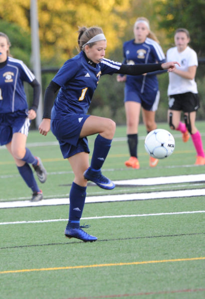 Cassie Smeltzer scored the winning goal for Medomak Valley in their 1-0 victory over Lincoln Academy.
