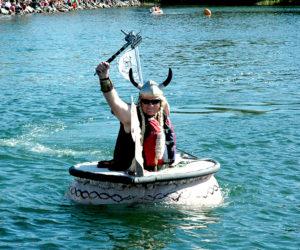A Viking pumpkin boat competes in the Regatta.