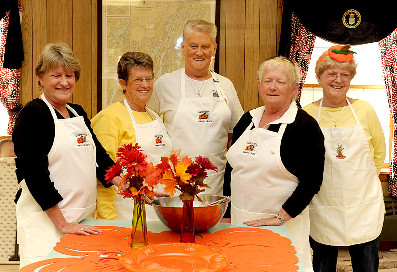 The Wells-Hussey American Legion Post Auxiliary will be hosting a breakfast on Sunday, October 9 from 7-11 a.m. The event runs in conjuction with Pumpkiinfest, and will feature many pumpkin and traditional foods. Pictured are Betsy Woodward, Nancy Perry, Bonnie Poland, Gayle Gifford and Sharon Brown. (Paula Roberts photo)
