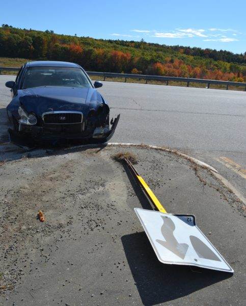 A 2005 Hyundai Sonata struck a street sign after a two-car collision on Route 1 in Damariscotta on Wednesday, Oct. 12. (Maia Zewert photo)