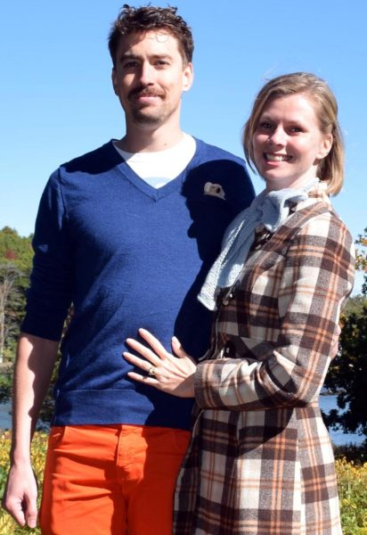 Timothy Buckland-Kerr and Amy Carland, of Sydney, Australia, at Oak Gables Bed & Breakfast in Damariscotta on Monday, Oct. 10. The couple was in town for the Damariscotta Pumpkinfest, where they were volunteers as well as spectators. (J.W. Oliver photo)