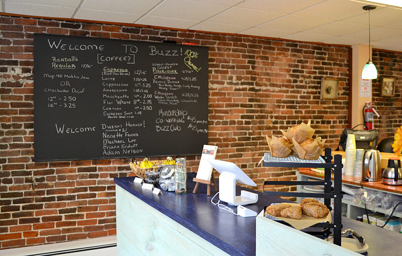 "Buzz Maine, at 133 Main St. in Damariscotta, features a grab-and-go organic coffee bar with baked goods and sandwiches, open to both members and the general public. The family business offers ""a 21st-century take on the workday,"" according to co-owner Jennifer Van Horne, and also features a workspace for members and a cocktail hour. (Maia Zewert photo)"