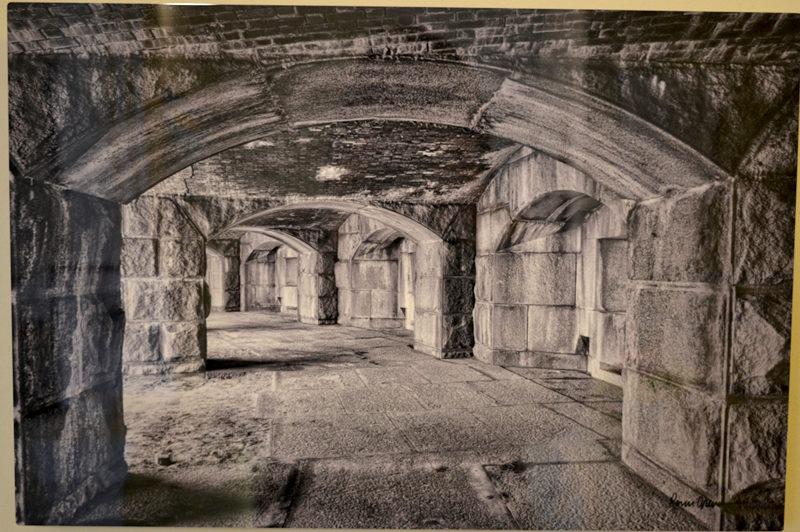 "Ronn Orenstein's ""Fort Popham,"" a black-and-white photograph on high-definition aluminum. (Christine LaPado-Breglia photo)"