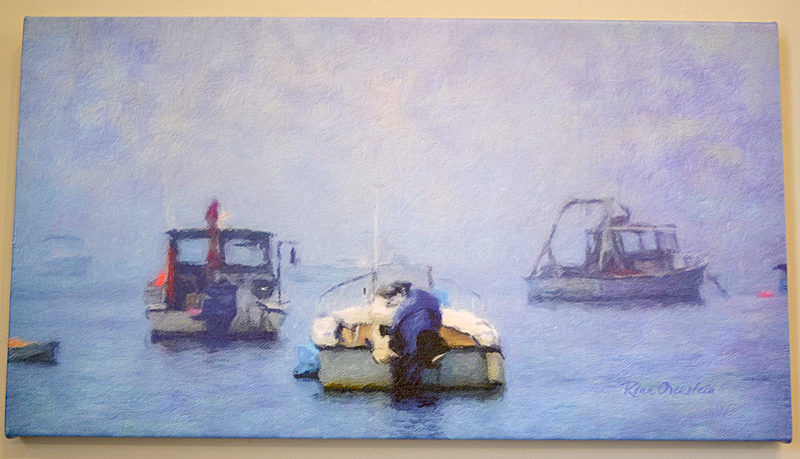 """Harbor Fog,"" a digitally altered canvas by Damariscotta photographer Ronn Orenstein. (Christine LaPado-Breglia photo)"