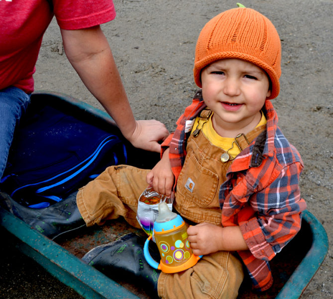 Jack Mooney, 2, of Bremen, wears a pumpkin hat to the Damariscotta Pumpkinfest's weigh-off at Pinkham's Plantation in Damariscotta on Sunday, Oct. 2. (Maia Zewert photo)