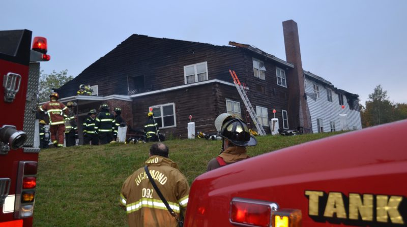Volunteer firefighters from 12 area departments helped battle the fire that claimed The Freedom Center, at 633 Gardiner Road, in the early morning hours of Sunday, Oct. 2. (Abigail Adams photo)