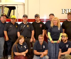 Members of the Dresden Fire Department at their annual open house Wednesday, Oct. 5, after a week of several difficult emergency calls. Back from left: Ike Heffron, Gorham Lilly, Chief Steve Lilly, Tyler Cray, Gerald Lilly, Susan Lilly, and Andrew Spicer. Front: Sabrina Dora, Mike Nylan, and Brendan Parker. (Abigail Adams photo)
