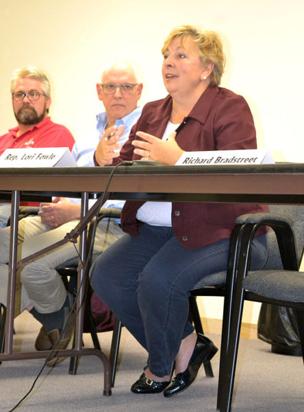 State Rep. Lori Fowle, D-Vassalboro, speaks during a candidates forum at the Lincoln County Regional Planning Commission in Wiscasset on Thursday, Oct. 6, as Rep. Jeff Pierce, R-Dresden, and Will Neilson, D-Arrowsic, look on. (Christine LaPado-Breglia photo)