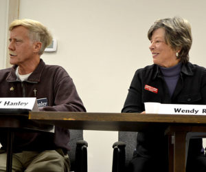 State Rep. Jeff Hanley, R-Pittston, speaks during a candidates forum as his challenger, Wendy Ross, D-Wiscasset, looks on. (Christine LaPado-Breglia photo)