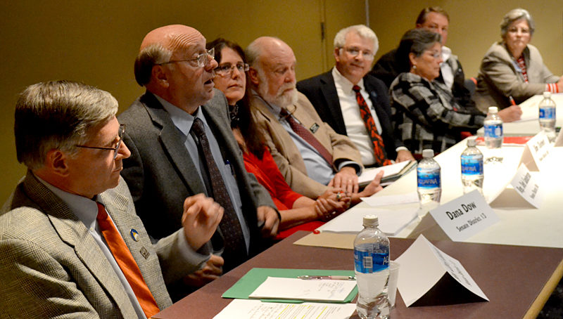 Candidates to represent Lincoln County towns in the Maine State Legislature participate in a forum at Skidompha Public Library in Damariscotta on Thursday, Oct. 13. (Maia Zewert photo)