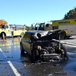 No Injuries in Collision, Car Fire on Route 1 in Newcastle