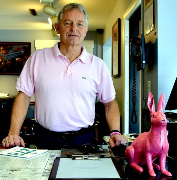 Newcastle Chrysler customers can help with dealership President Randy Miller's efforts to raise funds for the American Cancer Society by depositing donations in the pink bunny at the service counter. Miller is one of 25 Real Men in Pink of Maine, community leaders who are raising awareness and funds for the American Cancer Society. (J.W. Oliver photo)