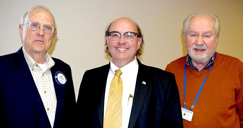 From left: Damariscotta-Newcastle Rotary Club member John Atwood, Maine Secretary of State Matthew Dunlap, and club President Bob Topper. Dunlap was the guest speaker at the club's weekly meeting Tuesday, Oct. 25. (J.W. Oliver photo)