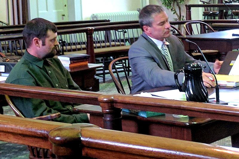 Jeffrey Moran (left) sits with his attorney, Phil Cohen, in Lincoln County Superior Court on Friday, Oct. 28. (Alexander Violo photo)