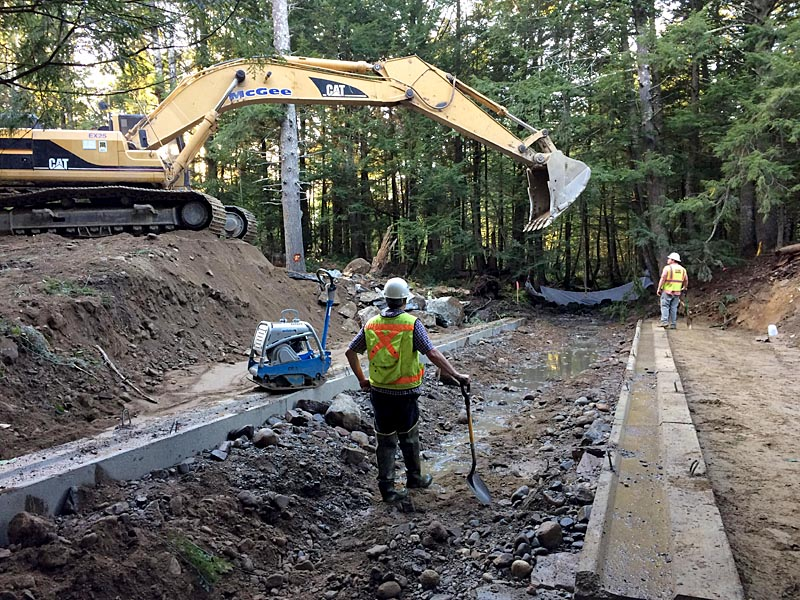 Replacement of the Vigue Road culvert in Whitefield in its early stages Sept. 27. The work was made possible by a grant from the Maine Department of Environmental Protection and a partnership between the town of Whitefield and several conservation organizations. (Photo courtesy Garrison Beck)