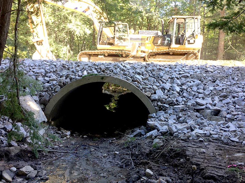 The replacement of the Vigue Road culvert in Whitefield nears completion Thursday, Sept. 29. (Photo courtesy Garrison Beck)