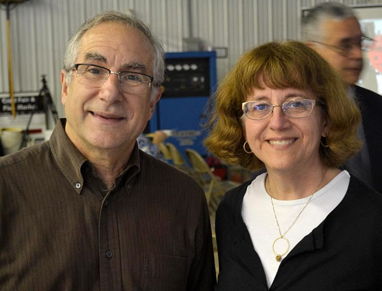 Sheepscot Valley Health Center partner Dr. Roy Miller and HealthReach CEO Connie Coggins remembered Dr. Carol Eckert as a dedicated, compassionate, and selfless physician during a memorial service for Eckert at the Windsor Volunteer Fire Department on Saturday, Oct. 22. (Abigail Adams photo)