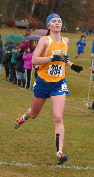 Boothbay Regions Faith Blethen crosses the finish line to win the South Class C Regional girls championship.  (Carrie Reynolds photo)