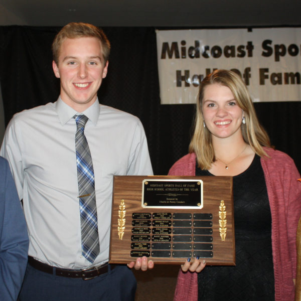 Medomak Valley graduate Nicholas DePatsy, and Lincoln Academy senior Bailey Plourde were named Midcoast Sports Hall of Fame 2016 Male and Female Athletes of the Year. (photo courtesy of Lynne Plourde)