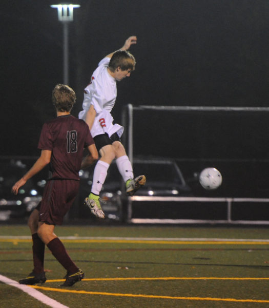Natthan Simmons puts a shot on goal for the Eagles.