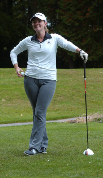Lincoln Academy senior Bailey Plourde shot an 18 hole round of 75 in the KVAC State Golf Qualifier on October 4 at Natanis. (Carrie Reynolds photo)