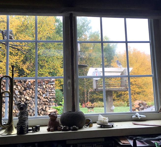 All four cords of wood are stacked neatly outside the kitchen window. (Photo courtesy Doug Wright)