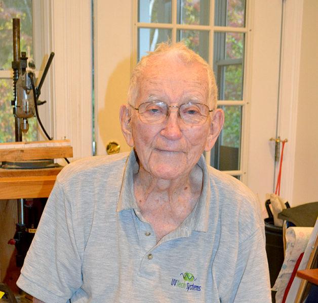 World War II veteran George D. Whitten, 93, in his home workshop in Boothbay Harbor on Thursday, Nov. 3. (Charlotte Boynton photo)