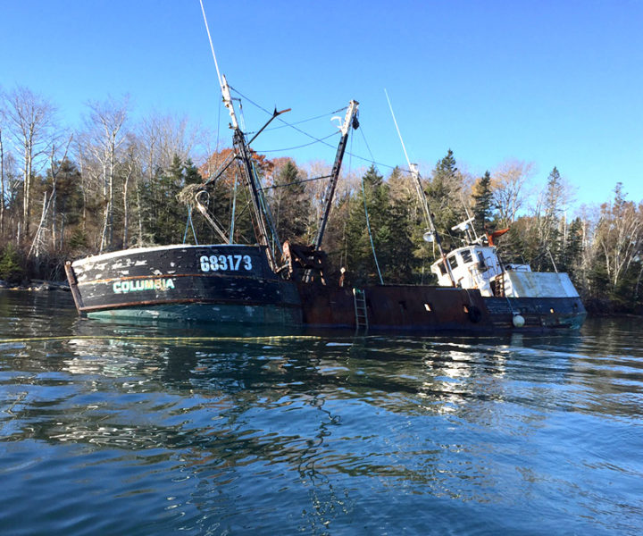 The fishing vessel Columbia, formerly a resident of Pemaquid Harbor in Bristol and Greenland Cove in Bremen, is reportedly aground near the shore of Louds Island.