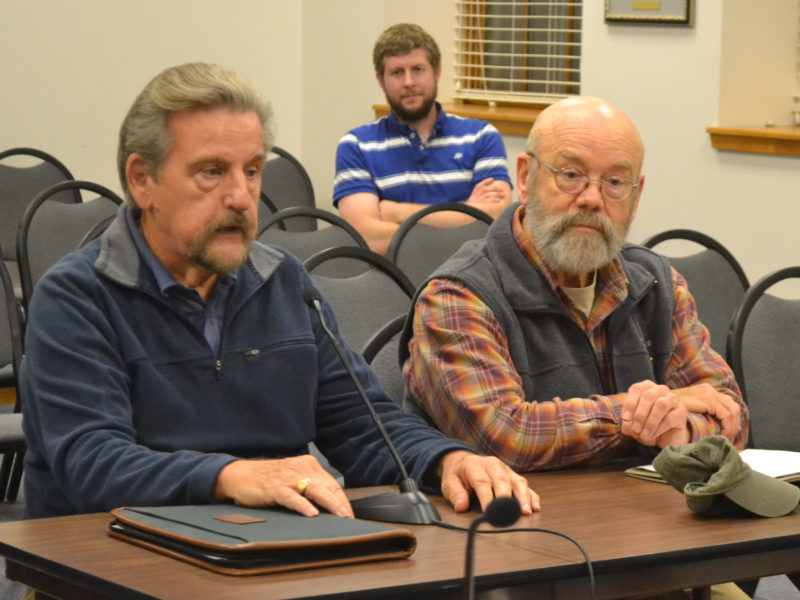 Friends of Colonial Pemaquid President Don Loprieno (left) and board member Barry Masterson speak about the group's efforts to lease the Colonial Pemaquid State Historic Site from the state during the Damariscotta Board of Selectmen's meeting Wednesday, Nov. 16. (Maia Zewert photo)