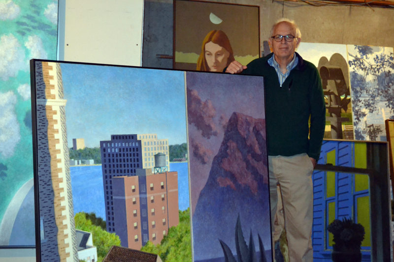 Winslow Myers stands behind one of his 27 large-scale paintings, this one merging a New York City-inspired image with one depicting an area in Baja California, Mexico. Myers is in the basement of his Bristol home, where he stores many of his paintings for rotation in his ground-floor home gallery, Petrel Fine Arts. (Christine LaPado-Breglia photo)