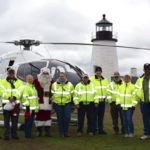 Flying Santa Visits Pemaquid Point
