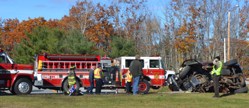 Local emergency personnel work on the scene of a fatal accident near the intersection of Main Street and Route 1 in Damariscotta the morning of Monday, Nov. 7. (Maia Zewert photo)