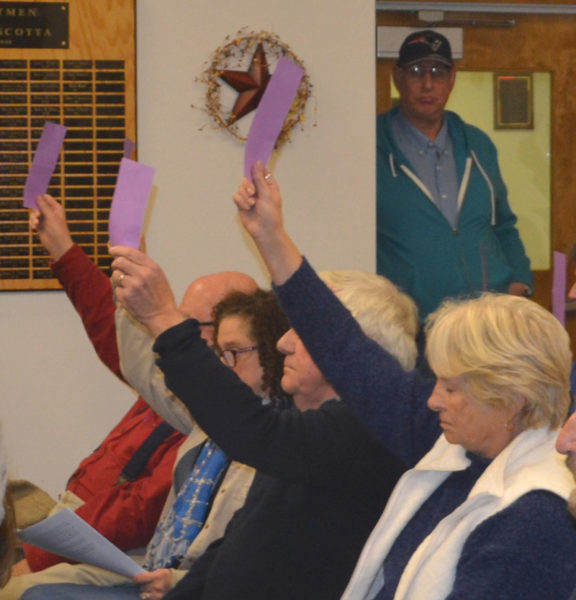 Damariscotta residents vote in favor of a bond issue during a special town meeting at the Damariscotta town office Wednesday, Nov. 16. (Maia Zewert photo)