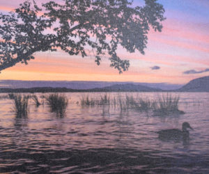 """Sunset on Spencer Bay - Moosehead,"" a photograph on canvas by Kate Coupland. (Christine LaPado-Breglia photo)"