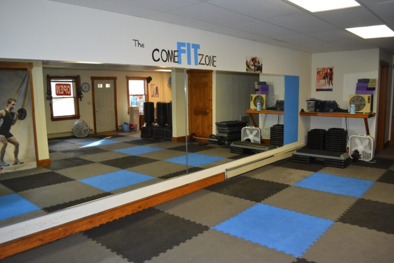 TheComeFit Group Exercise and Fitness Studio, at 96 Bristol Road in Damariscotta, offers group fitness classes for all ability levels, as well as personal training for individuals or small groups. (Maia Zewert photo)
