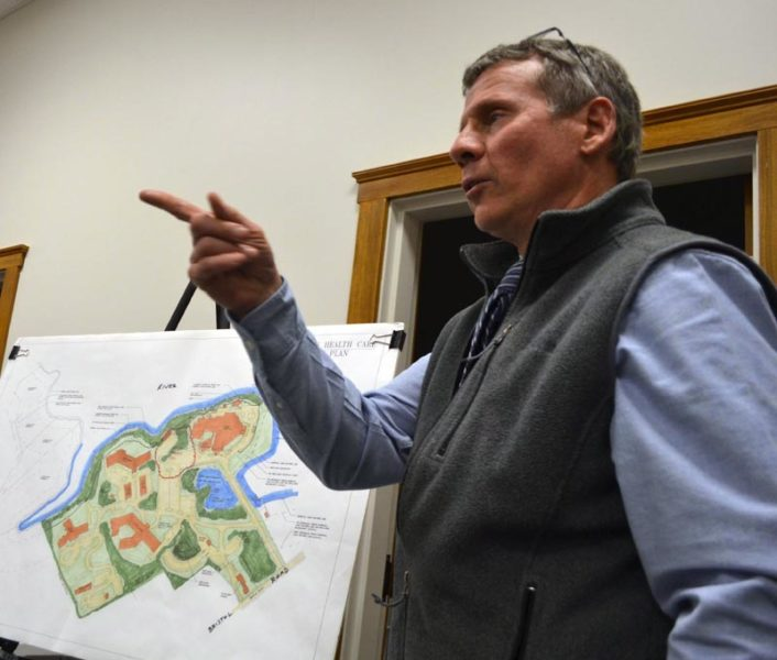 Peter Biegel, a landscape architect with Land Design Solutions, presents the plan for LincolnHealth's outpatient health center during a meeting of the Damariscotta Planning Board on Monday, Nov. 14. The planning board will hold a public hearing on the application Monday, Dec. 5. (Maia Zewert photo)
