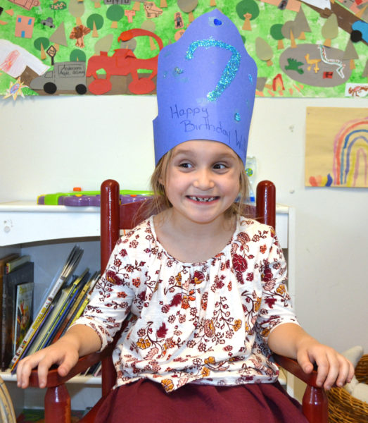 Willow Shadis, of Damariscotta, wears a crown celebrating her 7th birthday at Coastal Kids Preschool in Damariscotta. (Maia Zewert photo)