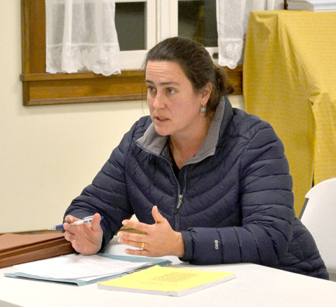 Town attorney Jessica Avery counsels the Dresden Board of Selectmen on the process of adopting a temporary ban on retail shops, clubs, and outlets for recreational marijuana during the board's Monday, Nov. 28 meeting. (Abigail Adams photo)
