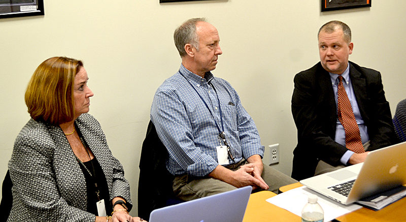 From left: AOS 98 Superintendent Eileen King, Assistant Superintendent Shawn Carlson, and RSU 12 Superintendent Howard Tuttle meet at the Edgecomb Eddy School on Monday, Nov. 14 to discuss areas of potential collaboration between the two districts. (Abigail Adams photo)