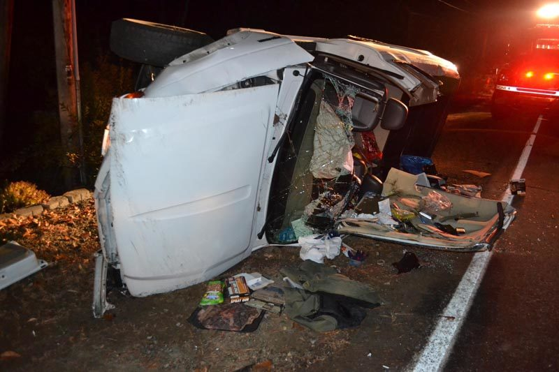 A Ford Ranger was totaled in a single-vehicle accident on Route 129 in South Bristol the evening of Monday, Nov. 14. The driver and sole occupant of the vehicle was taken to LincolnHealth's Miles Campus in Damariscotta for unknown injuries, according to Lincoln County Sheriff's Deputy Aaron Beck. (Maia Zewert photo)
