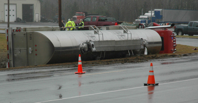 A milk truck lies on its side after a fatal collision with a pickup truck on Route 1 in Waldoboro the morning of Wednesday, Nov. 16. (Alexander Violo photo)