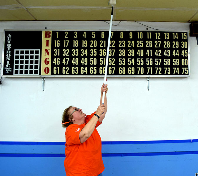 Team Depot Captain Sharon Stone paints downstairs at the Charles C. Lilly American Legion Post 149 in Waldoboro on Thursday, Nov. 10. (J.W. Oliver photo)