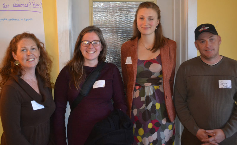 From left: Rhiannon Hampson, Colleen Halon-Smith, Emilie Knight, and Jerry Ireland spoke about the benefits of Farm Bill grant programs that have supported their projects during a forum about the reauthorization of the bill at The Morris Farm in Wiscasset on Friday, Nov. 18. (Abigail Adams photo)